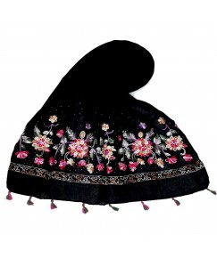 Stole For Women - Fabric - 100 % Cotton Fabric - Hand Work Emboidered Flower Design - Diamond Studed Cotton Hijab -  Black - Size - 75/185 CM