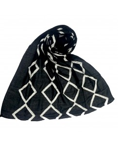 Stole For Women -  Cotton Fabric -  Zic Zac Grid Hijab - Black - Size - 75/185 CM