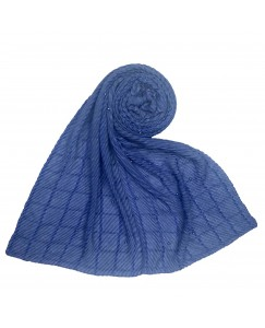Stole For Women - Fabric - Crush Cotton Fabric -  Diamond Studed Crush Stole - Blue - Size - 75/185 CM
