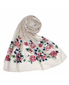 Stole For Women - Fabric - Cotton Fabric - Diamond Studed  Emboidered Design Flower Hijab - White - Size - 75/185 CM