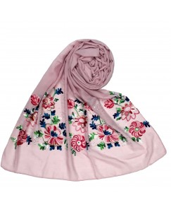 Stole For Women - Fabric - Cotton Fabric - Diamond Studed  Emboidered Design Flower Hijab -  Purple - Size - 75/185 CM