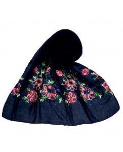 Stole For Women - Fabric - Cotton Fabric - Diamond Studed  Emboidered Design Flower Hijab -  Blue - Size - 75/185 CM