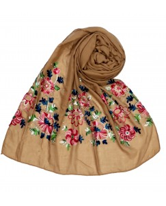 Stole For Women - Fabric - Cotton Fabric - Diamond Studed  Emboidered Design Flower Hijab -  Brown - Size - 75/185 CM