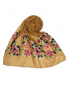 Stole For Women - Fabric - Cotton Fabric - Diamond Studed  Emboidered Design Flower Hijab -  Yellow - Size - 75/185 CM