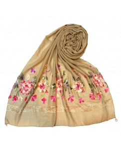 Stole For Women - Hand Work Flower Hijab -  Cotton Fabric - Brown - Size - 75/185 CM