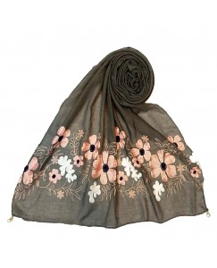 Stole For Women - Cotton Fabric - EmboideRed Flower Cotton Hijab - Grey - Size - 75/185 CM