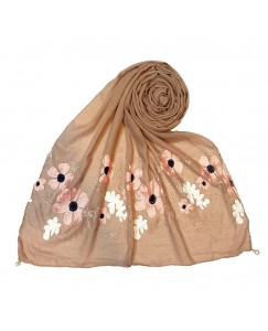 Stole For Women - Cotton Fabric - EmboideRed Flower Cotton Hijab - Brown - Size - 75/185 CM