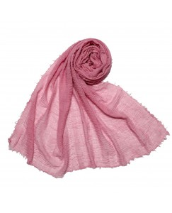 Stole For Women - Fabric - Breathable  Cotton - Plain Soft Cotton Hijab -  Pink - Size - 75/185 CM