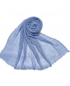 Stole For Women - Breathable Cotton - Plain Soft Cotton Hijab - Light Blue - Size - 75/185 CM