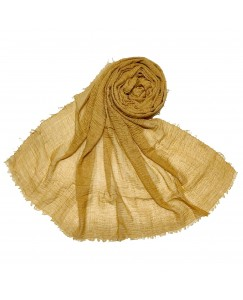 Stole For Women - Breathable Cotton - Plain Soft Cotton Hijab - Yellow - Size - 75/185 CM