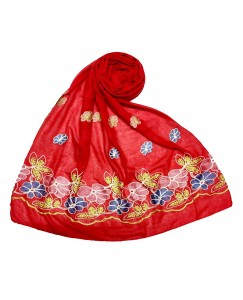 Stole For Women -  Fabric - Cotton Fabric - Emboidered Flower Design On Hijab - Red - Size - 75/185 CM