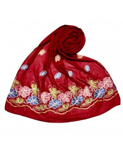 Stole For Women -  Fabric - Cotton Fabric - Emboidered Flower Design On Hijab - Maroon - Size - 75/185 CM