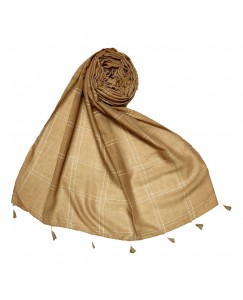 Stole For Women - Hand Work White Threaded Grid Hijab - Brown - Size - 75/185 CM