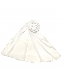 Stole For Women - Fabric - Chiffon - Plain Chiffon Hijab -White - Size - 75/185 CM