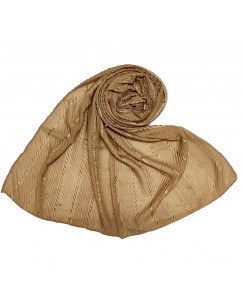 Stole For Women -  Cotton Fabric -  Striped Collection - Diamond Studed Stole - Brown - Size - 75/185 CM
