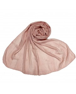 Stole For Women -  Cotton Fabric -  Striped Collection - Diamond Studed Stole - Pink - Size - 75/185 CM