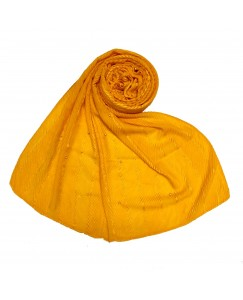 Stole For Women -  Cotton Fabric -  Striped Collection - Diamond Studed Stole - Yellow - Size - 75/185 CM
