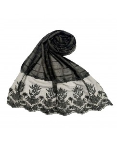 Stole For Women - Square Shaped Cotton Fabric - Flowerely Net Diamond All Over The Stole -Black - Size - 75/185 CM