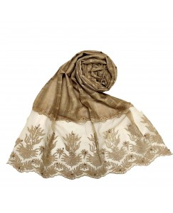 Stole For Women - Square Shaped Cotton Fabric - Flowerely Net Diamond All Over The Stole -Brown - Size - 75/185 CM