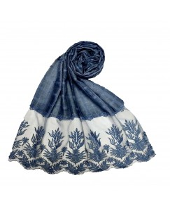 Stole For Women - Square Shaped Cotton Fabric - Flowerely Net Diamond All Over The Stole -Blue - Size - 75/185 CM