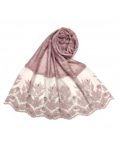 Stole For Women - Square Shaped Cotton Fabric - Flowerely Net Diamond All Over The Stole -Purple - Size - 75/185 CM