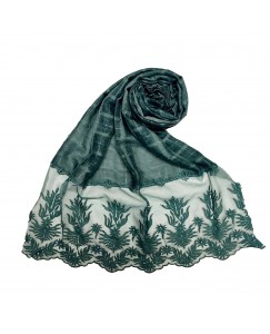 Stole For Women - Square Shaped Cotton Fabric - Flowerely Net Diamond All Over The Stole -Green - Size - 75/185 CM