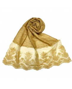 Stole For Women - Square Shaped Cotton Fabric - Flowerely Net Diamond All Over The Stole -Yellow - Size - 75/185 CM