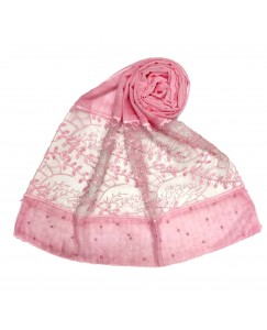 Stole For Women - Diamond and Pearl Studed Cotton Fabric Hijab - Heavy Work Done On The Net Of The Hijab Pink - Size - 75/185 CM