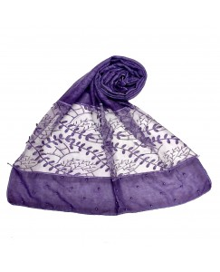 Stole For Women - Diamond and Pearl Studed Cotton Fabric Hijab - Heavy Work Done On The Net Of The Hijab Purple - Size - 75/185 CM
