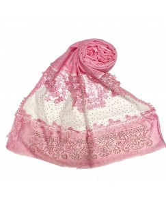 Stole For Women -  Cotton Fabric - Diamond Studed Hijab With Long Fringe's On The Net -  Pink - Size - 75/185 CM