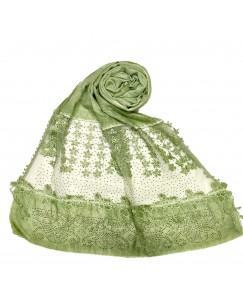 Stole For Women -  Cotton Fabric - Diamond Studed Hijab With Long Fringe's On The Net -  Green - Size - 75/185 CM