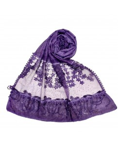 Stole For Women -  Cotton Fabric - Diamond Studed Hijab With Long Fringe's On The Net -  Purple - Size - 75/185 CM