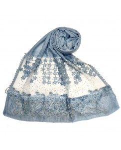 Stole For Women -  Cotton Fabric - Diamond Studed Hijab With Long Fringe's On The Net -  Blue - Size - 75/185 CM