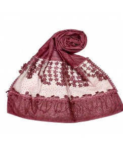Stole For Women -  Cotton Fabric - Diamond Studed Hijab With Long Fringe's On The Net -  Maroon - Size - 75/185 CM