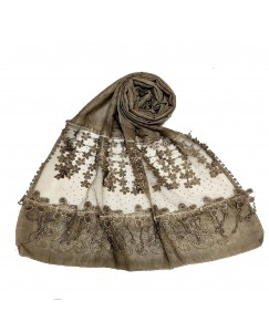 Stole For Women -  Cotton Fabric - Diamond Studed Hijab With Long Fringe's On The Net -  Brown - Size - 75/185 CM