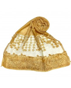 Stole For Women -  Cotton Fabric - Diamond Studed Hijab With Long Fringe's On The Net -  Yellow - Size - 75/185 CM