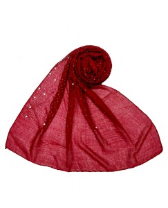 Stole For Women - RESTOCKED ON DEMAND -  Cotton Fabric -  Rain Drop Hijab - Maroon - Size - 75/185 CM