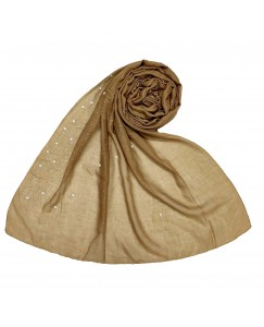 Stole For Women - RESTOCKED ON DEMAND -  Cotton Fabric -  Rain Drop Hijab - Brown - Size - 75/185 CM