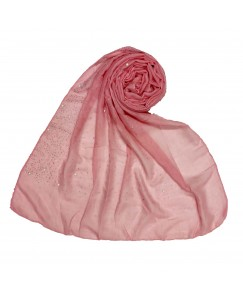Stole For Women - RESTOCKED ON DEMAND -  Cotton Fabric -  Rain Drop Hijab - Pink - Size - 75/185 CM
