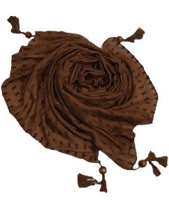Stole For Women  - Shining Silver Liner All Over The Stole - Fringe's On The Border Of The Stole - Brown - Size - 75/185 CM