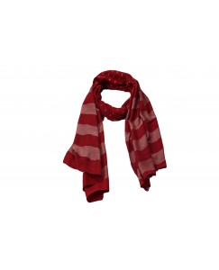 Stole For Women - Cotton Fabric - Double Sided Striped Liner Hijab With Fringe's - Maroon - Size - 75/185 CM