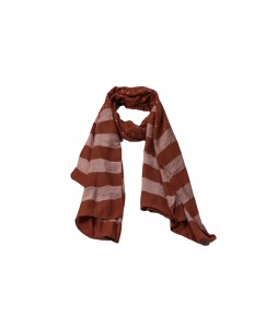 Stole For Women - Cotton Fabric - Double Sided Striped Liner Hijab With Fringe's - Brown - Size - 75/185 CM