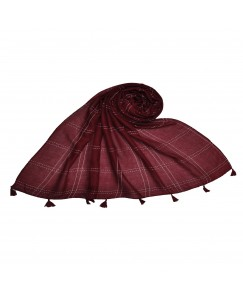 Stole For Women - Big Box Checkered Hijab With A Touch Of Cotton Fabric - Maroon - Size - 75/185 CM