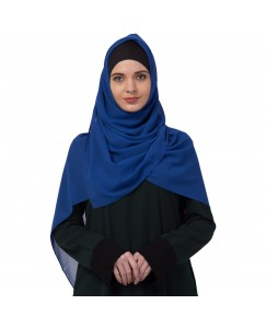 Stole For Women -   Chiffon Fabric - Best For All Season's - Hijabs That Don't Slip -  Plain Chiffon Hijab - Blue - Size - 75/185 CM