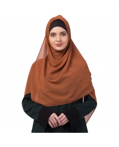 Stole For Women -   Chiffon Fabric - Best For All Season's - Hijabs That Don't Slip -  Plain Chiffon Hijab - Brown - Size - 75/185 CM