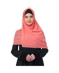 Stole For Women -   Chiffon Fabric - Best For All Season's - Hijabs That Don't Slip -  Plain Chiffon Hijab - Orange - Size - 75/185 CM