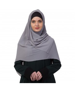 Stole For Women -   Chiffon Fabric - Best For All Season's - Hijabs That Don't Slip -  Plain Chiffon Hijab - Grey - Size - 75/185 CM