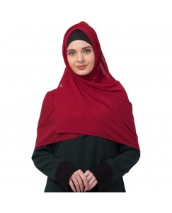 Stole For Women -   Chiffon Fabric - Best For All Season's - Hijabs That Don't Slip -  Plain Chiffon Hijab - Maroon - Size - 75/185 CM