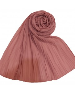 Stole For Women - Fabric - Chiffon Fabric - Quality On Point - Pleated Liner Chiffon Hijab - Orange - Size - 75/185 CM