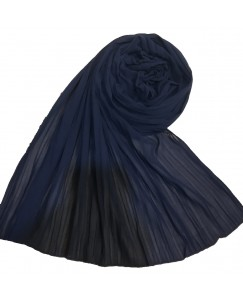Stole For Women - Fabric - Chiffon Fabric - Quality On Point - Pleated Liner Chiffon Hijab - Blue - Size - 75/185 CM